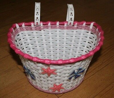 Kids Bike Basket Girls White & Pink With Star Decorations