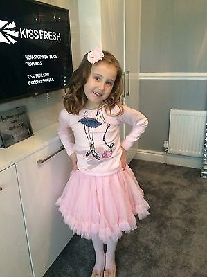 Lili Gaufrette Girls Tutu Tulle Skirt And Pink Top Age 8