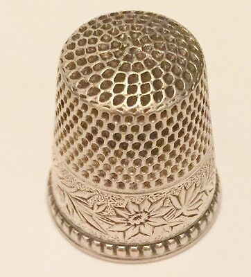 Antique Sterling Silver KETCHAM & MCDOUGALL KMD Floral Daisy Sewing Thimble 10