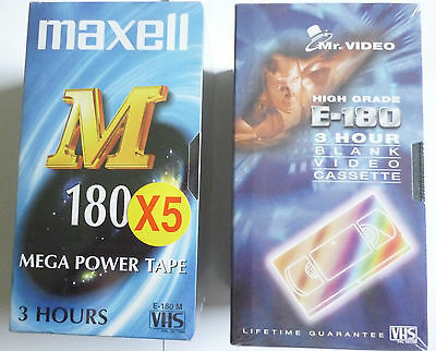 12 E-180 VHS Blank Tapes - 5 Maxell, 5 Mr. Video, 1 Sony and 1 SKC New & Sealed