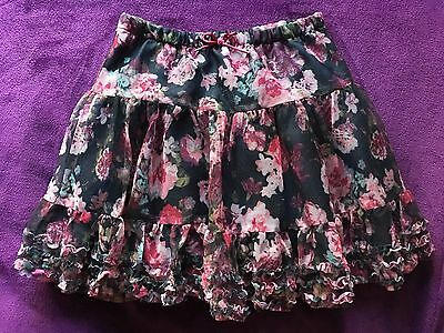 Girls Ruffled Tulle Party Skirt - Black With Pink/Burgundy Floral Print, Age 7-8