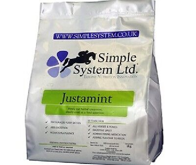 Simple System Justamint 1kg Spearmint Aiding Digestion Horse Food feed