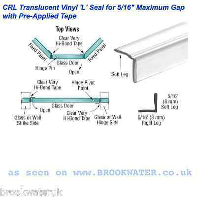 """2.49M Self Adhesive Shower Door Seal""""l""""shape Fix To Wall 7.9Mm High Projection"""