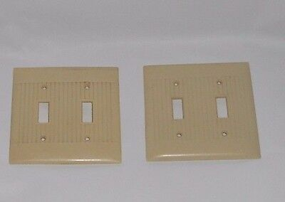 2 Vintage Ribbed Lines Ivory Bakelite McDonald Sierra Double Switch Plate Covers