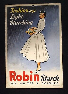 """Vintage 50s Advertising 9"""" Card For Robins Starch - Fashion Says Light Starching"""