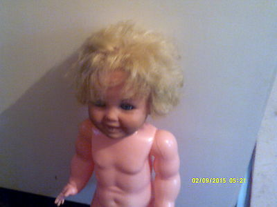 """Vintage 24"""" Doll Rooted Hair Open Close Eyes Jointed Limbs Plastic Used"""