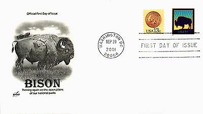 Dr Jim Stamps Us American Bison Multi Franked Tied First Day Cover 2001