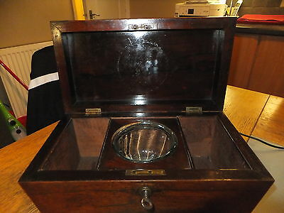 large rosewood tea caddy with key and bowl