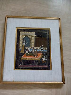 vintage Indian painting on fabric framed