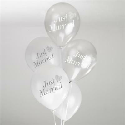 Just Married Latex WEDDING BALLOONS White / Silver x8 VINTAGE ROMANCE Helium Air