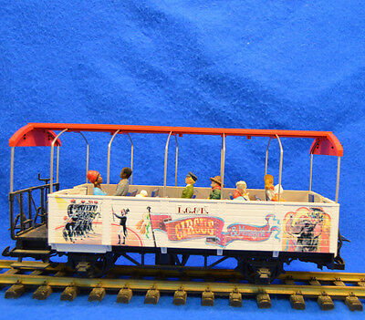 LGB 3125 Open Circus Passenger Car with Figures G Scale  Nice Used with Box