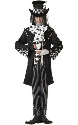 Dark Mad Hatter Alice In Wonderland Adult Mens Fancy Dress Halloween Costume