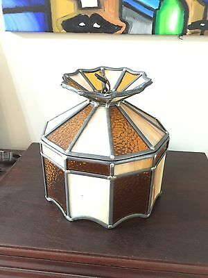 Vintage Stained Glass Chandelier Ceiling Light Fixture Antique Mission Retro Old