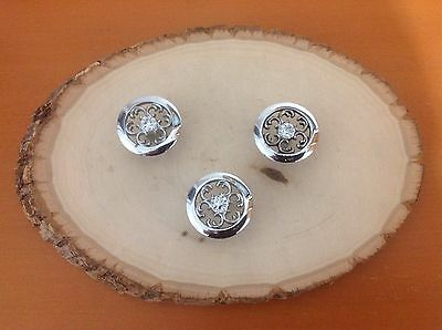 312 Vintage French Provincial Silver Knobs. Three available.