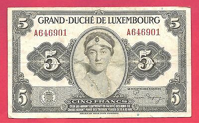 Luxembourg 1944 (ND) 5 Francs Note P-43b