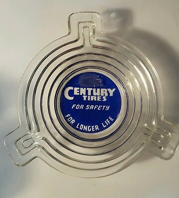 Vintage Century Tire  Gas Oil Station EARLY Tires Advertising ashtray glass
