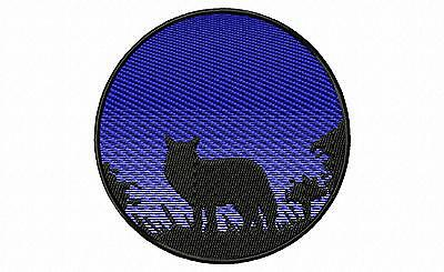 Coyote Silhouette Embroidery Patch (blue)