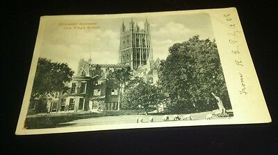 Old postcard gloucester cathedral from kings school undivided back posted 1903