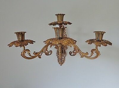 Antique  4 Candle Louis Xvi Style Ormolu Wall Sconce