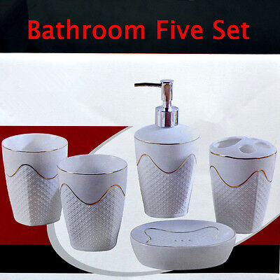5 pieces Ceramics Bathroom Accessories for Lotion, Toothbrush & Soap Dish
