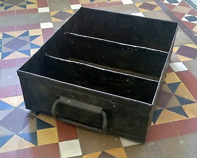 Reclaimed 40's Industrial Factory Riveted Tool Box Black Iron Drawer Pulls