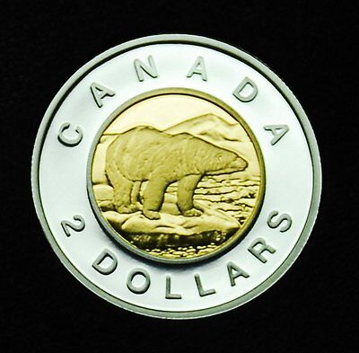 2007 $2 proof sterling silver with gold-plated inner core - shows brilliantly