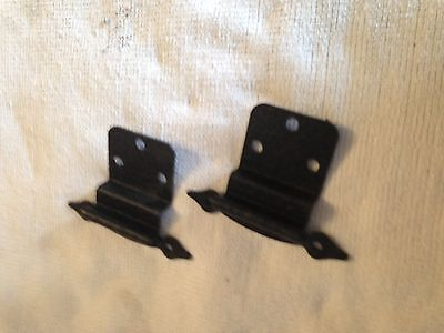 "Vintage Steel Cabinet Hinges Antique Black Semi-Concealed 3/8"" Inset Stanley"