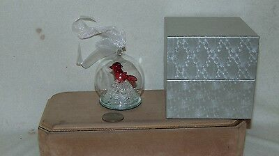 "3"" Glass Lighted Red Bird Christmas Ornament"