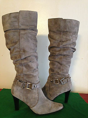Blake Scott Gray Suede Fashion Boots Womens Size 6 M