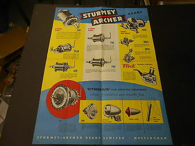 Sturmey Archer 1957 Dealers Bicycle Internal Geared Hub Poster Three Speed Hubs