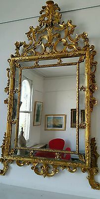 Antique Gilt Overmantle Mirror from France Large and Highly Decortative