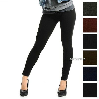 Girls Women Fur Fleece Lined Warm Cosy Soft Stretch Slim Fit Leggings Trousers