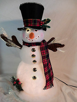 "Fiber Optic Frosty Snowman Changing Rainbow Colors 17"" Boxed"