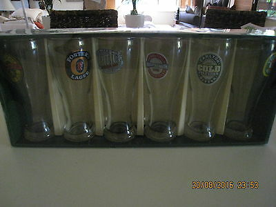 Great Australian Beer Glass Collection (6 Vintage Glasses) Brand New In Box