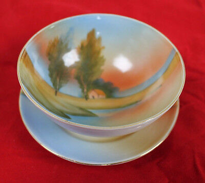 Vintage Handpainted Three Legged Porcelain Bowl and Saucer - Made in Japan