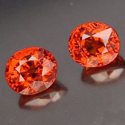 2.08 tcw Pair of Natural Oval-cut Mandarin Spessartite VVS/IF Garnet (Nigeria)