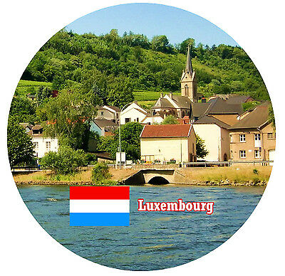 Luxembourg - Sights / Flag - Round Novelty Souvenir Fridge Magnet - New  Gifts