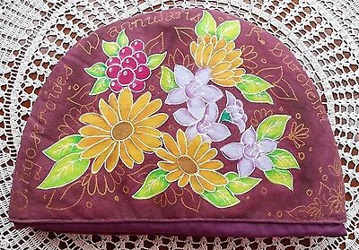 Tea Cosy Hand Painted Batik(?) Floral Design With Latin Names Around The Edge