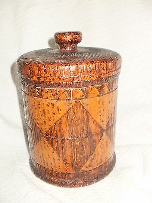 Primitive Antique Wooden Canister With Lid, Folk Art, Hand Carved