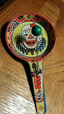 Vintage Lithographed Tin Clown Noise Maker U.S. Metal Toy Co. OLD AND RARE