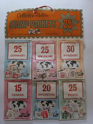 Vintage 24 Stamp Packets Collection Builder Vintage Shop Counter Display 1970's