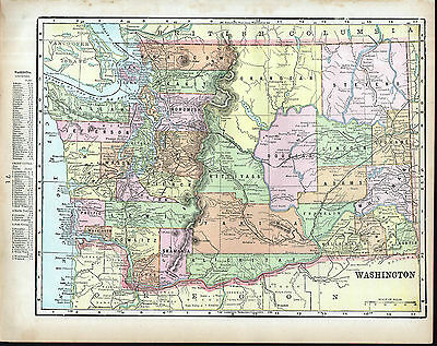 WASHINGTON OREGON Map Antique 1899 Original US State Color Map American History