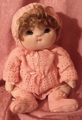 Handmade Vintage Cloth Soft Sculpture Baby Doll OOAK Hand Painted 80's
