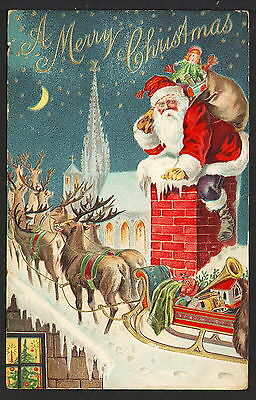 SANTA203 Red Suited Santa Claus Goes Down Chimney, Raindeer & Sled on Roof