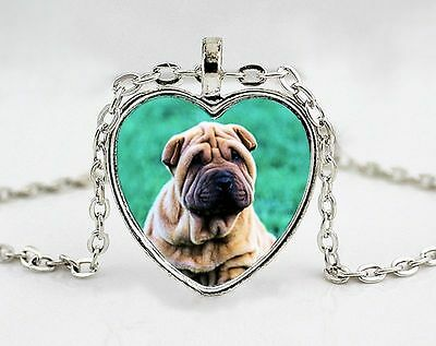Chinese Shar Pei Wrinkle Dog Breed Pendant Necklace with Chain