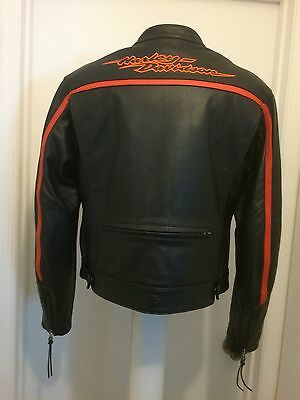 Harley Davidson Women's Orange Black Leather Race Style Jacket Embroidered L