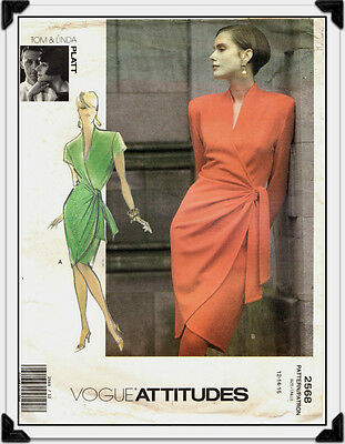 Sewing Pattern Vogue 2568 Tom Linda Platt Womens Wrap Dress Sz. 12-14-16 Uncut