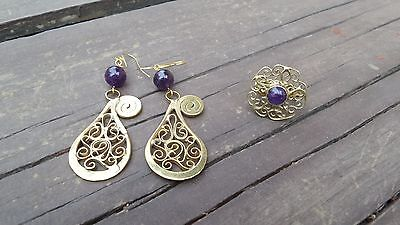 Mexican Artisan Handmade Brass & Copper Set Of Ring & Earrings With Amethyst