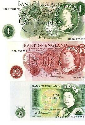 Set England 2x 1 pound and 10 shillings queen unc