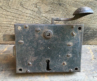 Beautiful 18th C Cast Iron Door Latch Assembly ~ Strong Spring ~ Paddle Lever